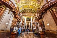 Prunksaal library, Austrian National Library, Vienna, Austria.