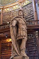 Statue in the Prunksaal library, Austrian National Library, Vienna, Austria.