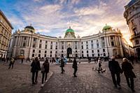 Austria, Vienna, Michaelerplatz, view of the Vienna Hofburg palatial complex.