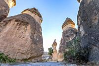 Fairy tale chimneys in Cappadocia, tourist attraction places to fly with hot air balloons. Goreme, Cappadocia, Turkey.