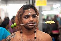 Singapore, Republic of Singapore, Asia - During the Thaipusam festival at the Sri Srinivasa Perumal Temple in Little India, a Hindu devotee has his ch...