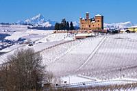 Grinzane Cavour, Piedmont, Italy, Suggestive view of the Unesco Castle on the snowy hills and vineyards.