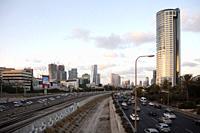 Ayalon Freeway Through Tel Aviv - Israel.