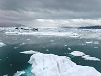 The great Eqip Glacier (Eqip Sermia oer Eqi glacier) in Greeland. Denmark, August.