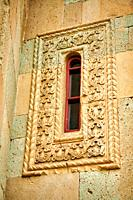Picture & image of the exterior geometric reief sculpture architectural details of Betania (Bethania ) Monastery of the Nativity of the Mother of God ...