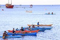 Chile, Lake District, Puerto Varas, Lake Llanquihue, kayaks, people,.