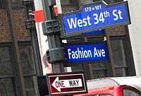 New York, Street and Traffic indications are West34trs and Fashion Avenue also called 7th Avenue