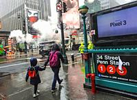 New York. Subway 23th Street Penn station for the 1, 2 and 3 lines. Midtown at 34th street and 7th Avenue on a cloudy, cold, rainy day.