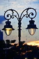 Lamp post in Preach Suramit Boulevard Park, Phnom Penh, Cambodia, South east Asia.
