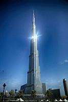 Sun reflects at the Burj Khalifa tower, the tallest building in the world, at Dubai United Arab Emirates.