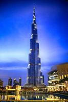 The Burj Khalifa tower by evening, the tallest building in the world, at Dubai United Arab Emirates.