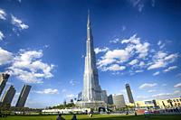 Burj Khalifa tower at a blue clear sky, the tallest building in the world, at Dubai United Arab Emirates.