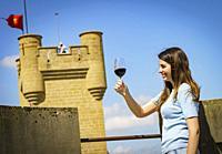 Tasting wine in Olite castle. Olite. Navarre. Spain.