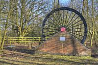 HDR image of the wheel at the Snibston No 3 Former Railway and Mine at the site of the Leicester to Swannington Railway and Swannington Incline.
