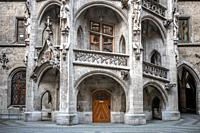 Details of Rathaus city hall in Munich, Germany.