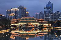 Chengdu, China - December 9, 2018: Close up of the Anshun bridge at dusk, one of the landmarks of the city.