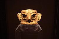 Chengdu, China - December 11, 2018: Golden mask inside the Jinsha museum in Chengdu.