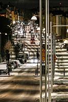 Stockholm, Sweden The neighborhood of Aspudden at night.