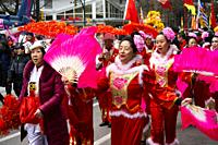 Lunar New Year parade on Pender Street in Vancouver, BC, Canada.