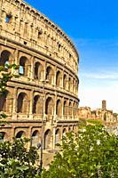 Colosseum, Coliseum, Flavian Amphitheatre, Rome, Lazio, Italy, Europe.