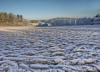 Winter landscape with frost. Botlyrka, Sodermanland, Sweden