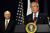 USA Washington DC -- 10 May 2007 -- President George W Bush addresses the press after a meeting in the Pentagon with Secretary of Defense Robert Gates...
