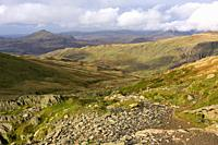 The rugged landscape of the Furness Fells from the northern flank of The Old Man of Coniston in the Lake District National Park, Cumbria, England.