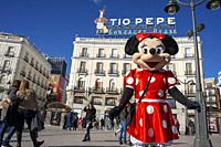 Minnie mouse costume in Puerta del Sol square in the city centre, Madrid, Spain.