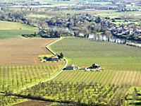 view of Lot River valley and Granges-sur-Lot from Laparade, Lot-et-Garonne Department, Nouvelle Aquitaine, France.
