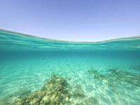 Underwater the turquoise water in El Calo de San Agusti Formentera island Balearics Spain.