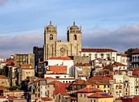 View towards Se Cathedral, Porto, Portugal.