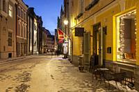 Winter evening in Tallinn old town, Estonia.