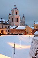 Winter evening at the Bastion of the City Walls in Vilnius, Lithuania.