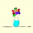 vase with puzzle flowers