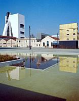 Italy, Lombardy, Milan, Piazza Adriano Olivetti Square, Fondazione Prada Foundation, Left Tower Right The Haunted House . . .