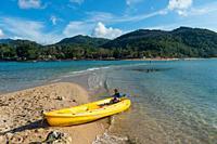 Yellow kayak in Ko Ma island beach near Phangan island, Thailand.