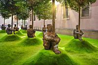 Barcelona City, Modern Art Museum, Jaume Plensa Sculptures.