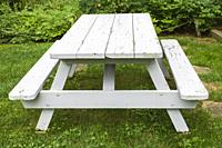White painted wooden picnic table in residential backyard