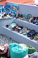 Ceramics and boods for sale, Oia, Santorin, Greece, Europe.
