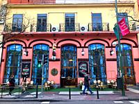 Facade of the old The Geographic Club restaurant. Alcala street, Madrid, Spain.