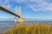 Vasco de Gama Bridge over the Tagus river, Lisbon, Portugal.