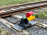 Railroad tracks with an old hand-operable railway switch in Ystad, Scania, Sweden.