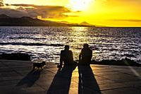 Two men and a dog enjoying the sunset at the coastline of Las Palmas de Gran Canaria, Canary Islands.