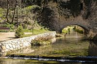 View of bridge on Huécar river, Cuenca city, Spain