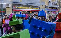View of disguises in Carnival celebrations, Cuenca city, Spain
