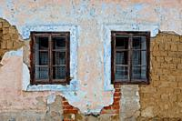 Windows of a traditional house in Karlova village, northern Slovakia.