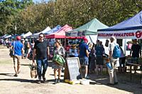 Saturday Farmers' Market at Elwood, Melbourne, Australia. A farmers' market enables suburban consumers to buy fresh or organic food direct from farmer...