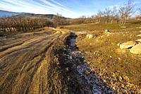 Winter time at Zorreras path in Sierra Paramera. Avila. Spain. Europe.