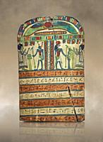 Ancient Egyptian voitive stele of Takasu for the Gods Harmakhis and Atun from Thebes. Ancient Egypt 25/26 Dynaty, 630 BC. Neues Museum Berlin Cat No: ...
