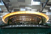 Singapore, Republic of Singapore, Asia - A view of the departure hall inside Terminal 3 at Changi Airport.